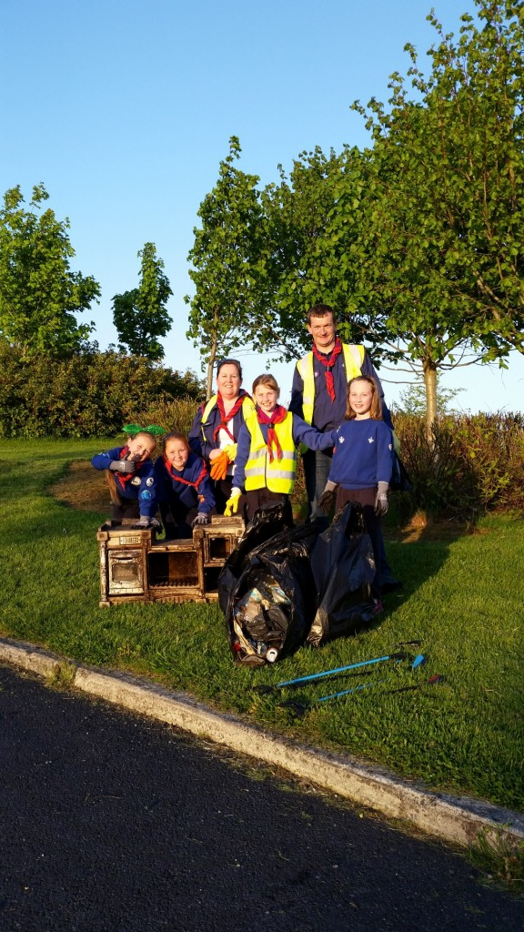 13th Kildare Beavers after litter picking the Liffey Walk