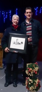 Frida Lowry bring presented with the Claonadh Award 2014 by John Kennedy, Chairman, Clane Community Council