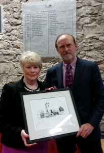 Evelyn McKee being presented with the Claonadh Award 2015 by Des Drumm, Chairman, Clane Community Council